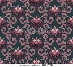 seamless floral pattern with peonies in a Japanese style Japanese Patterns, Japanese Style, Peonies, Floral, Illustration, Red, Painting, Image, Pictures