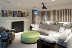 Contemporary Media Room With Striped Wallpaper Best Home Theater At Movie