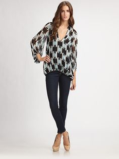 slouchy top with skinny legs