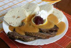 Svickova na Smetane European Cuisine, Celeriac, Good Food, Yummy Food, Sirloin Steaks, Root Vegetables, Creamy Sauce, Orange Slices, A Table