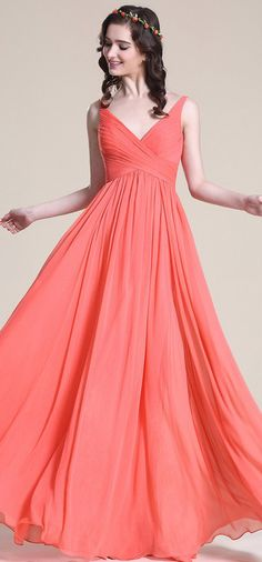 eDressit V Neck Coral Bridesmaid Dress