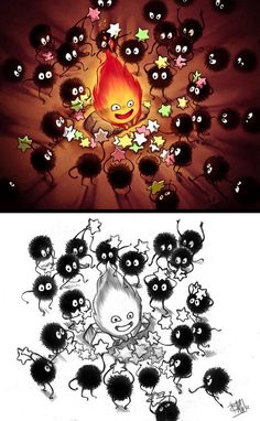 Makes so much sense! Calcifer (#Howl's Moving Castle) and Soot balls (#Spirited Away).