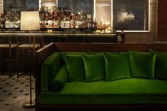 My office couch? Hotel Lounge, Office Lounge, Ace Hotel, Shoreditch House, Bar Counter Design, Edition Hotel, Green Bar, Green Sofa, Home And Living