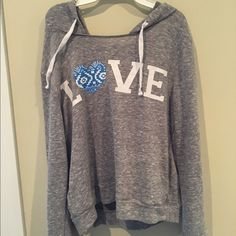 """Love"" Grey Sweatshirt Grey hoodie. Very comfortable. Only worn once Derek Heart Tops Sweatshirts & Hoodies"
