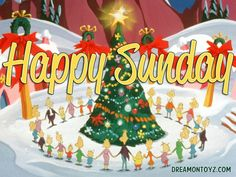 Happy Sunday  MORE Cartoon & TV images http://cartoongraphics.blogspot.com/ ~And on Facebook~ https://www.facebook.com/dreamontoyz  Dr. Seuss - The Whos in Whoville holding hands and gathered around the Christmas tree #Greeting #Holiday