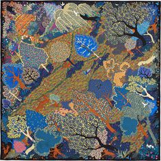 "36"" x 36"" scarf Hermès   Dans Un Jardin Anglais by Alice Shirley SS 2015 CW 11 noir/bleu/vert"