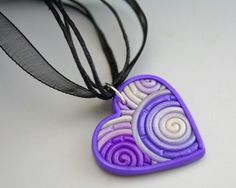 Purple Heart Pendant in Polymer Clay Filigree by StarlessClay, $10.00