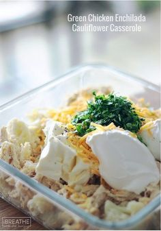A cheesy green chicken enchilada casserole that is to die for! Super easy to throw together it's also low carb and gluten free!