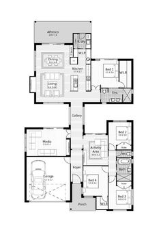 Floor Plan Friday: Gallery walk-through with master/living on the back – Media Room İdeas 2020 New House Plans, Dream House Plans, House Floor Plans, The Plan, How To Plan, Home Design Floor Plans, Courtyard House, House Blueprints, Display Homes