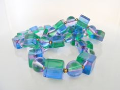 Lucite Bead Necklace 1960's Mod Square Round by Libbysmomsvintage