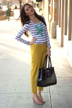 J Crew Mustard pants (and necklace)