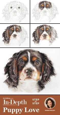 Draw a sweet little tri-colored Spaniel puppy in 30 detailed steps with crystal clear instruction an Animal Paintings, Animal Drawings, Cool Drawings, Pet Drawings, Watercolor Paintings Of Animals, Colored Pencil Tutorial, Colored Pencil Techniques, Pastel Pencils, Colored Pencils
