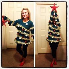 Christmas Tree Sweater, awesome idea for an ugly Christmas sweater party!