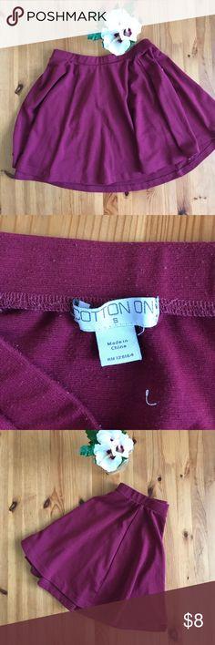 Elegant Red Skater Skirt! Deep red Cotton On skater skirt Size Small Cotton On Skirts Circle & Skater