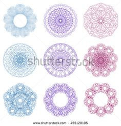 Guilloche set. It can be used as a protective layer for the certificates, diplomas, banknotes. Pattern Rosette for Play Money or Other Security Papers - Vector Illustration.