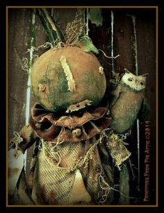"""MiLLICeNT-An-EXTREME-PriMiTiVe-HaRVEST-PuMPKiN-GiRL-w-Man-in-THe-MooN-and-OWL ~ SHE MEASURES APPROX. 27"""" TALL ~ MADE MILLICENT FROM OSNABURG WHICH HAS BEEN AGED, PAINTED BLACK AND SANDED. 2 of 10"""