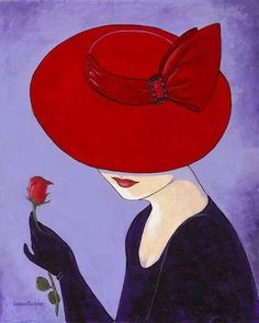 Glamorous ladies in hats Lorraine Dell Wood The artist Lorraine Dell Wood (Lorraine Dell Wood) is a remarkable series of paintings. Arte Pop, Red Hat Ladies, Red Hat Society, Red Hats, Lorraine, Painted Rocks, Vintage Art, Decoupage, Art Drawings