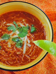 Sopa de Fideo is truly comfort food. (Spicy Mexican Noodle Soup)  Enjoy this…