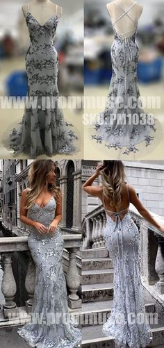Sexy Mermaid Open Back Unique Formal Long Prom Dresses, PM1038 - Prom Muse
