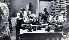 Elmer S. Riggs et H. W. Menke travaillent sur les fossiles de Brachiosaurus altithorax. Dinosauria, Saurischia, Sauropodomorpha, Sauropoda, Brachiosauridae. Auteur : the Field Museum, Chicago. Avant 1903.