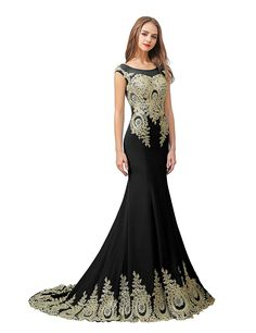 Sarahbridal Womens Jersey Mermaid Applique Evening Dress Prom Gown XU028 >>> Unbelievable  item right here! : black dress