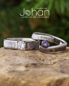 Jewelry by Johan's custom engagement rings are made with unique inlays like authentic meteorite. #JewelrybyJohan Wood Engagement Ring, Dinosaur Bones, Sapphire, Wedding Rings, Unique, Jewelry, Jewellery Making, Engagement Rings