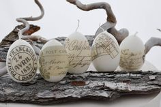 shabby easter candle eggs