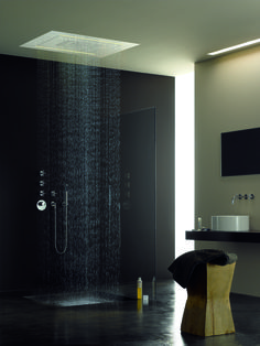 Thanks to these awesome designs, rain no longer has to be a bad thing! Here are 20 elegant rain shower design ideas. Modern Shower, Modern Bathroom, Dark Bathrooms, Master Bathroom, Bathroom Interior Design, Home Interior, Bathroom Designs, Rain Shower Bathroom, Shower Set