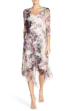 Komarov Floral Print Chiffon A-Line Dress available at #Nordstrom