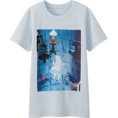 UNIQLO DISNEY PROJECT Graphic T-Shirt (Alice in Wonderland) (1600 DZD) ❤ liked on Polyvore featuring tops, t-shirts, shirts, light blue, uniqlo shirt, cotton tee, blue cotton shirt, graphic tees and cotton shirts