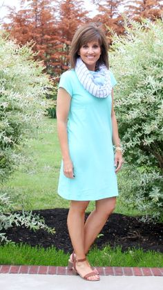Simple t-shirt dress with a summer scarf