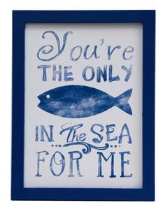 Earth de Fleur Homewares - You're the only fish in the sea for me Wall Art Print