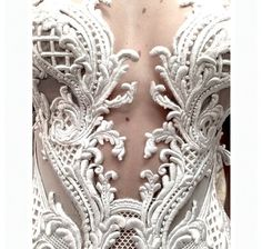 INCREDIBLE Embroidered Bodice On Bridal Gown ~~
