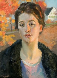 Jacek Malczewski 1855-1929 (Polish), Portrait in the autumn sun, pastels on cardboard, 1916