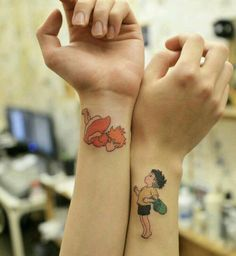 Ponyo on the cliff by the sea tattoos