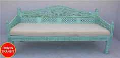 French Indian Carved daybed mattress Balinese day bed blue rustic turquoise - L