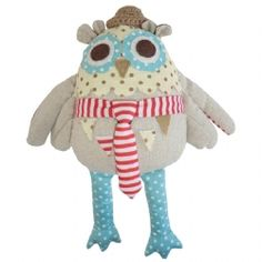 Cute Mr Owl is a lovely pastel room accessory or soft toy