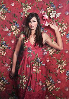 """Wallflower"" - Ardith Starostka, oil on linen panel {contemporary figurative realism artist brunette female standing woman blending into flower-pattern background painting} starstudioarts.com"
