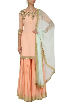 Peach embroidered kurta and pleated gharara set available only at Pernia's Pop Up Shop.