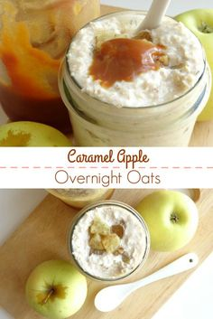 Caramel Apple Overnight Oats Recipe - this overnight caramel apple oatmeal is the perfect comforting fall breakfast! It's quick and easy to make, plus all the prep is done in minutes the night before, so it's perfect for busy mornings when you just haven't got the time! | www.pinkrecipebox.com