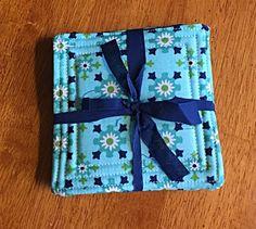 Handmade fabric coasters! #twincedarquilting #handmade #sewing #fabriccoaster
