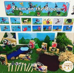 Our new 'Room on the Broom' small world play area Children are able to engage with one of our favourite texts through dramatic play and story sequencing Eyfs Activities, Nursery Activities, Book Activities, Autumn Activities, Indoor Activities, Play Based Learning, Learning Through Play, Early Learning, Story Sack