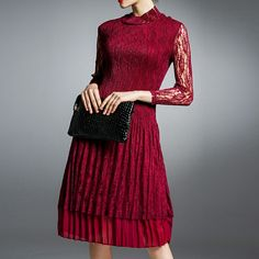 Dresses Fashionable and high neck lace freadress