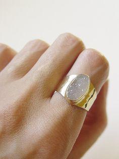 SALE Vanilla druzy gold Ring OOAK by #friedasophie - www.friedasophie.etsy.com