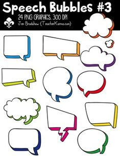 Speech Bubbles #3 Clipart! You will LOVE these ** 24 ** spectacular speech bubble graphics that are so much FUN! They are absolutely perfect for adding to parent newsletters, literacy and writing stations, activities, printables and student worksheets, class invitations, etc.