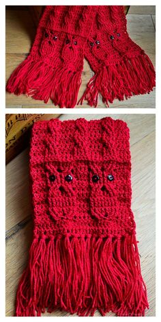 Owl Cabled Scarf Free Crochet Pattern