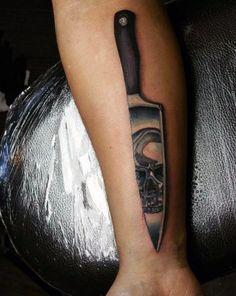cuchillo de cocina metálico para hombre 3d con el cráneo del tatuaje de Reflexión