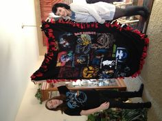 Leah made Tj this great blanket including his old tshirts.