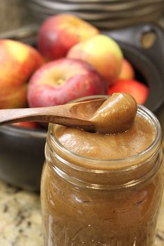 Crockpot Apple Butter - 1 dozen apples, peeled, cored, cubed  1/2 Cup Water  1/4-1/2 Cup Honey  1/2 teaspoon Cinnamon  1/2 teaspoon All Spice
