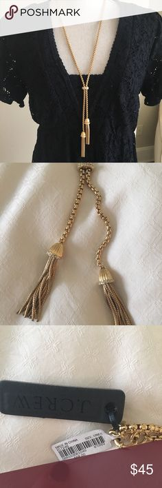 J. Crew Gold Tassel Necklace Beautiful and NWT - fun gold tassel necklace with crystal detailing. (Dress also for sale in my Posh closet!) J. Crew Jewelry Necklaces